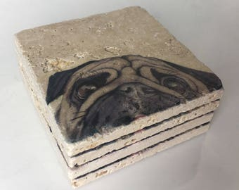 Dog Natural Stone Coasters Set of 4 with Full Cork Bottom Coasters Pug Coasters