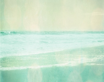 Beach Vintage Art Print - Aqua Soft Pastel Ethereal Bokeh Summer Ocean Beach House Wall Art Home Decor Photograph