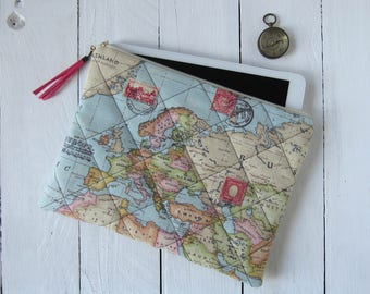 "case for tablet 9,7"" made of cotton, pink suede tassel, 9.7 inch tablet accessories, case for iPad or eReader, antique world map, chambray"
