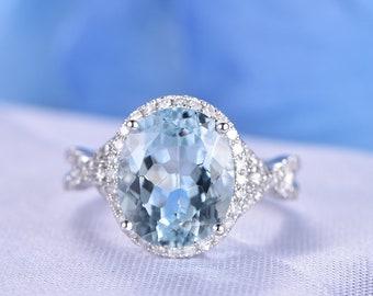 Big Aquamarine Engagement Ring Solid 14k White Gold Diamond Half Eternity Ring Diamond Band Halo Promise Ring 10X12mm Oval Cut VS Aquamarine