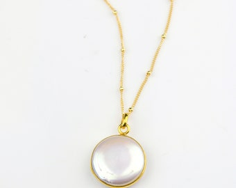Pearl Necklace, June Birthstone jewelry, Gold necklace, round stone necklace, Freshwater pearl jewelry bridesmaid necklace, FINAL SALE