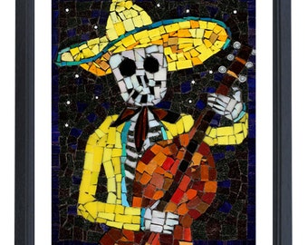 Mariachi Day of the Dead Skull Art - yellow skeleton playing the cello - Limited Edition Print of 50 -