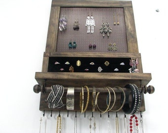 Jewelry Display with bangle bar and ring storage