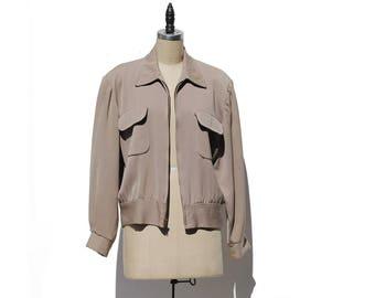 Vintage Beige Wool Bomber Jacket