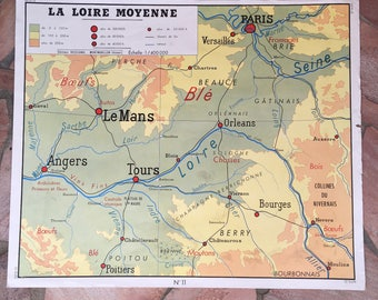 French vintage school poster map FRANCE LOIRE PARIS two sided rossignol 0302188