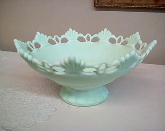 Westmoreland Glass Mint Green Ring and Petal Bowl