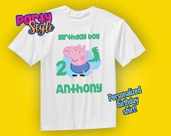 George Pig Birthday Shirt, George Pig Party, Personalized George Pig Shirt, George Pig Boys Shirt, Peppa Pig Shirt, Peppa the Pig, George