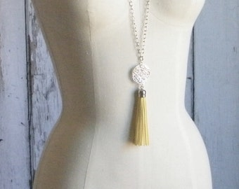 Leather Tassel Necklace, Long Necklace, Gold Tassel Necklace, Pendant Necklace, Silver Tassel Necklace, Pink Tassel, Yellow Tassel