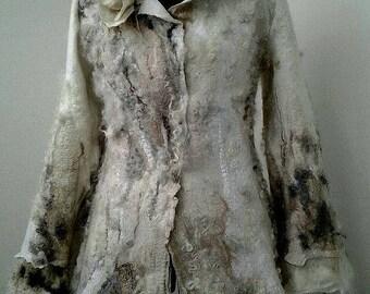 Felted jacket, Nuno Felted jacket, Felted Coat, Nuno Felted Coat, Merino Wool Coat, Beige Coat, Hand Felted Coat, Boho Coat, White Wool Coat