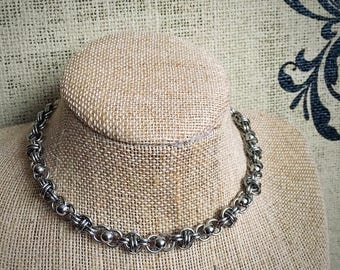 Solid Stainless Steel Barrel Weave Chainmail Necklace with Stainless Bead Accents