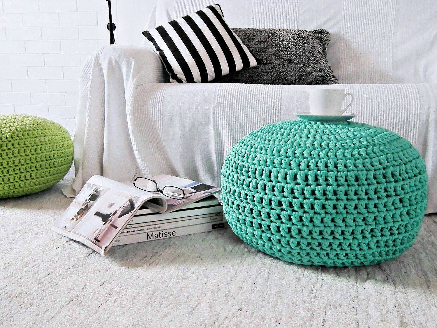 Knitted Pouf Nursery Footstool Aqua Large Round Ottoman