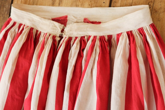 "Vintage early 1900s handmade french red white cotton underskirt skirt petticoat 25"" waist xs pleated can can"