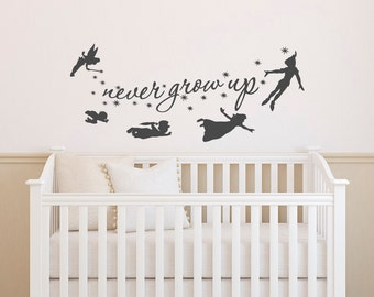 Peter Pan Wall Decal Quote  Never Grow Up Quotes Wall Decals Nursery  Peter  Pan Nursery Baby Kids Boys Room Playroom Bedroom Home Decor 018