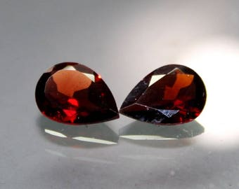 Red garnet AAA 7*10 mm pear 2 piece pair with brilliant making