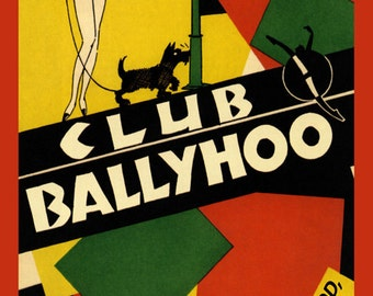 Bar Club Fashion Lady Scottish Terrier Dog Sunset Blvd Ballyhoo Hollywood California Vintage Poster Repro FREE SHIPPING in USA