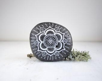 Medium Hand-Painted Mandala Stone