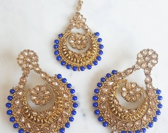 Royal Blue Antique Gold Earring and Maang Tikka Set - Jewlery with Vibrant Blue Accents, Indian Jewelry, Traditional Indian Wedding Tika