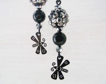 Black niobium pendant earrings with resin beads with rhinestones, Swarovski pearls and Butterfly Pendants