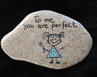 To me, you are perfect Little Girl hand painted river rock