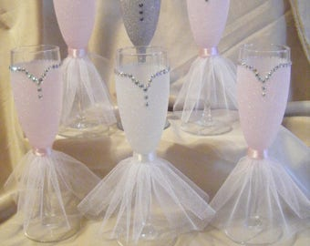 Bride and Bridesmaid Glittered Champage Flutes