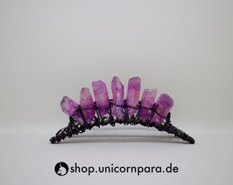 Song of a Distant Star 2 Raw Quartz Point Tiara Purple and Black