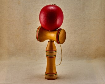 Kendama wooden toy. Vintage, Japanese children toy. Classic cup-and-ball game.