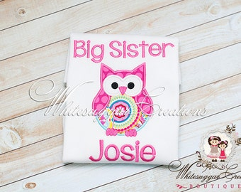 Big Sister Owl Shirt - Custom Personalized Siblings Sisters Shirts - Little Sister Shirt