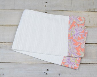 Kitchen Towel, Hand Towel, Tea Towel, Waffle Weave Towel, Dish Towel, Kitchen Hand Towel-Apricot/Lavender Floral