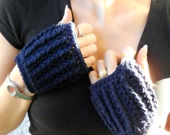 Navy blue hand warmers, fingerless gloves, crochet gloves, warm gloves, mittens, texting gloves, festival gloves, blue gloves, winter gloves