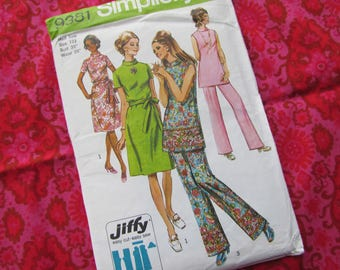 1971 Size 35 Inch Bust Stand Up Collar Dress or Tunic, and Pants - Vintage Simplicty Sewing Pattern No 9381