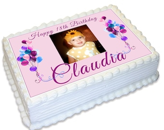 Birthday Photo Personalised A4 Edible Cake Topper