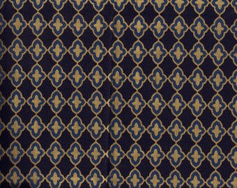 BTY MODA Navy & Gold CHANDELIER Print 100% Cotton Quilt Crafting Fabric by Yard