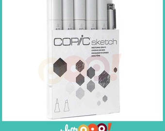 Copic Sketch Marker Set 5 Sketching Grays + 1 Multiliner Pen