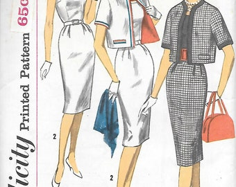 Miss 14 UNCUT-Simplicity 3398 1960s Fitted Scoop Neck Sleeveless Dress with Short Jacket Vintage Sewing Pattern Bust 34