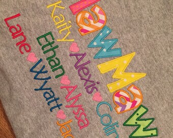 Customized Mother's Day / Grandparent's / new baby grandkids name / kids name applique and embroidered shirt