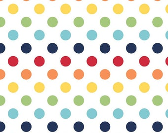 "Rainbow on White Medium Dots 3/4"" by Riley Blake Designs - Polka Dots - Quilting Cotton Fabric - choose your cut"