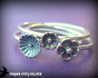 Stacking Ring Set -  Sterling Silver Flower Blossoms