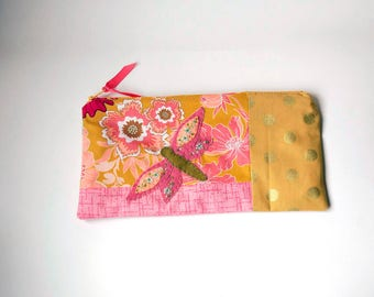"Zipper Pouch, 5x9.75"" in Pink, Gold, Rose, Peach and Cream floral print fabric with Handmade Felt Dragon Fly Embellishment, Pencil Case"