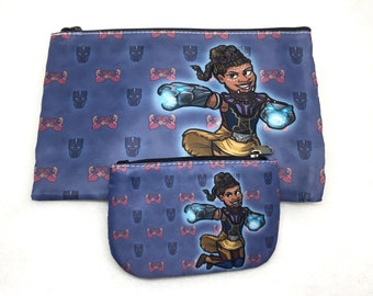 Black Panther Shuri with Wakanda pattern coin purse wallet