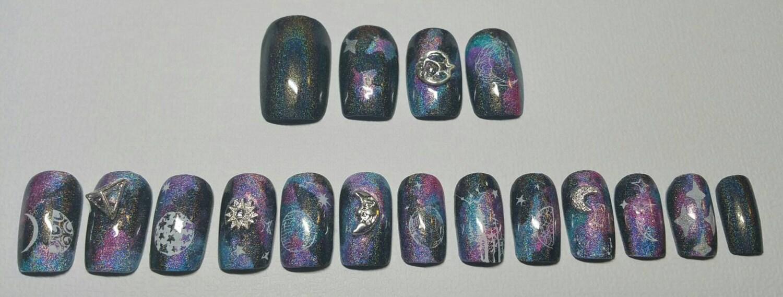 Holographic Nails | Galaxy Nails | Moon phase Nails | Holographic ...