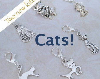 Kitty Cat stitch markers/progress keepers crochet knitting. Silver plated + 14mm lobster claw clasp. Hand made by Kathryn Crafternoon Treats