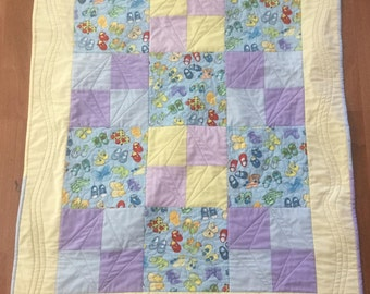 Vintage Baby girl quilt shoes yellow blue grey lavender