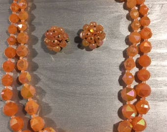 Vintage Multi strand Necklace and clip on earrings Marked Western Germany Peach beaded