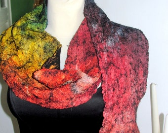 NUNO FELTED silk Scarf, shawl ,rainbow color ,gift, silk wool scarf.by MADEVALINEN