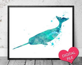 Narwhal Watercolor, PRINTABLE Art, Digital Download, Narwhal Print, Narwhal Printable, Narwhal Wall Art, Narwhal Nursery Decor, Narwhal Gift