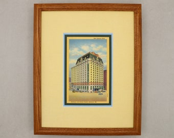 New Emerson Hotel Baltimore MD Art Deco 1939 vintage postcard print double matted 8x10 size. Framed ready to hang. Maryland Democratic Party
