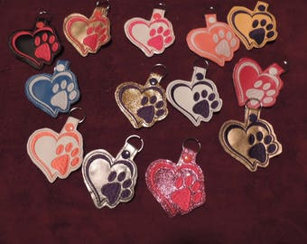 Heart with Dog Paw Key Fobs You Pick Color