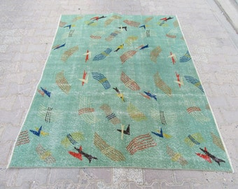 5x6.5 Ft Color of the year greenery vintage Turkish Zeki Muren art deco rug