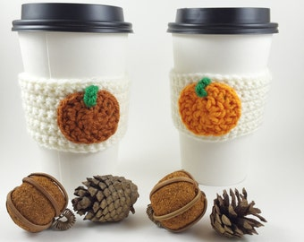 Pumpkin Cozy, Pumpkin Coffee Cozy, Coffee Cup Sleeve, Halloween Cozy, Crochet Cup Sleeve, Knit Cozy, Travel Cup Cozy, Free Shipping, Fall