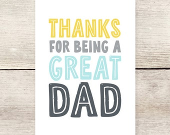 Thanks Dad Greeting Card, Father's Day card, New Dad